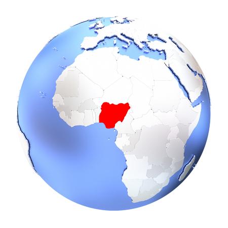 Map of Nigeria on metallic globe. 3D illustration isolated on white background. Stock Photo
