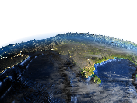 bengal: Southeast Asia on 3D model of Earth. 3D illustration with plastic planet surface and ocean floor.
