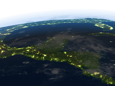 Yucatan at night. 3D illustration with detailed planet surface and visible city lights. 版權商用圖片