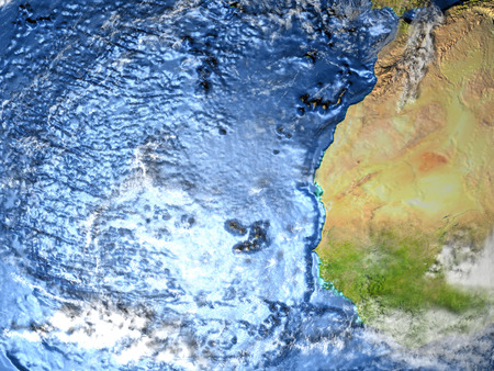 Western Africa on 3D model of Earth. 3D illustration with plastic planet surface and ocean floor. Stock Photo