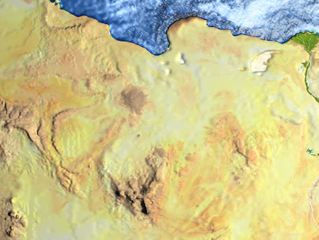 Egypt on 3D model of Earth. 3D illustration with plastic planet surface and ocean floor.