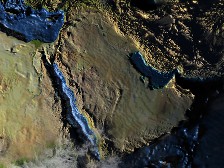 Arab Peninsula on 3D model of Earth at night. 3D illustration with plastic planet surface and ocean floor and visible city lights.