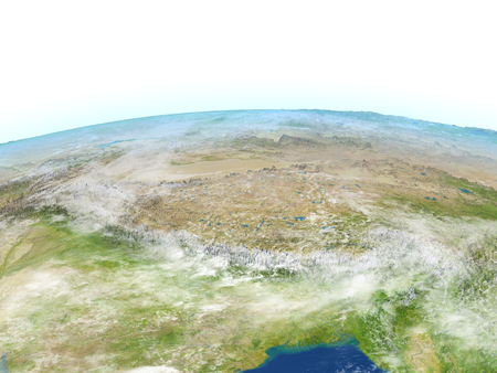 Himalayas. 3D illustration with detailed planet surface.