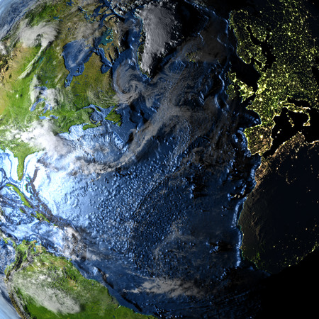 Northern Hemisphere on 3D model of Earth. 3D illustration with plastic planet surface and ocean floor and visible city lights. Stock Photo