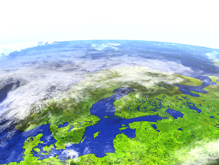Scandinavian Peninsula on model of Earth. 3D illustration with realistic planet surface.
