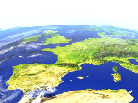 Iberia on model of Earth. 3D illustration with realistic planet surface. Reklamní fotografie