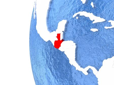 guatemalan: Guatemala on metallic globe with watery blue oceans. 3D illustration