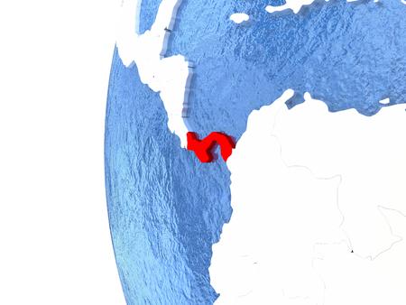 panamanian: Panama on metallic globe with watery blue oceans. 3D illustration Stock Photo