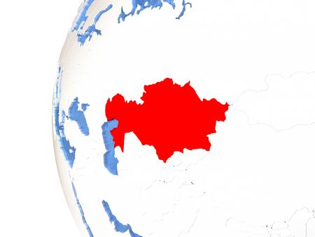 Kazakhstan on metallic globe with watery blue oceans. 3D illustration