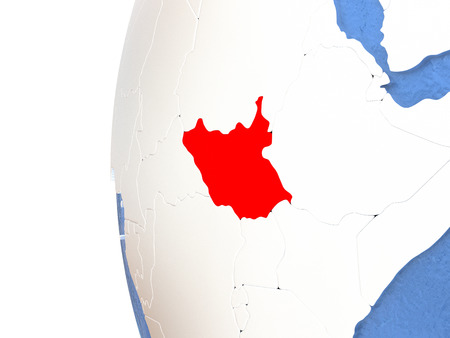 South Sudan on metallic globe with watery blue oceans. 3D illustration