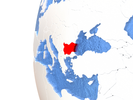 Bulgaria on metallic globe with watery blue oceans. 3D illustration
