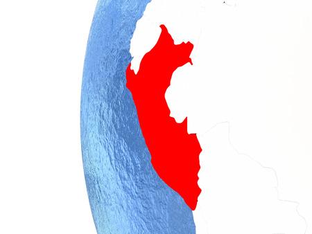 Perú en el globo metálico con los océanos azules acuosos. Ilustración 3D