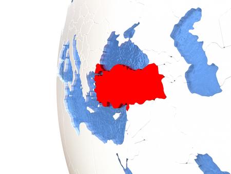 Turkey on metallic globe with watery blue oceans. 3D illustration