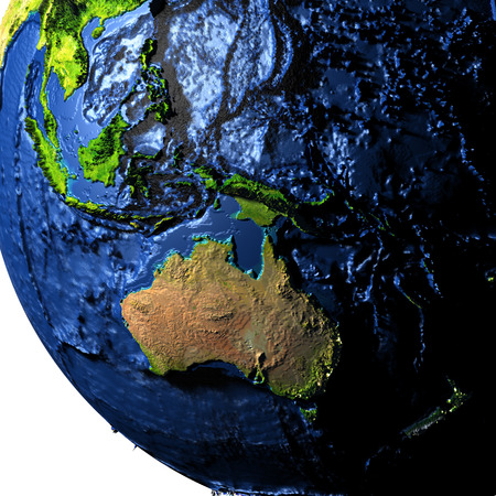 Australia on model of Earth with exaggerated surface features including ocean floor. 3D illustration.