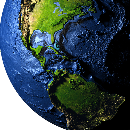 Central America on model of Earth with exaggerated surface features including ocean floor. 3D illustration.