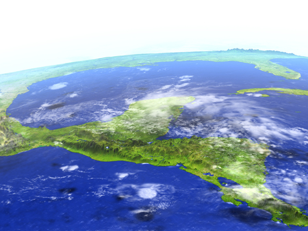 Yucatan on model of Earth. 3D illustration with realistic planet surface.