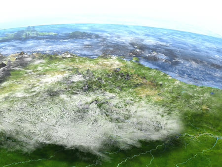 delta: Amazon delta on 3D model of Earth. 3D illustration with plastic planet surface and ocean floor.