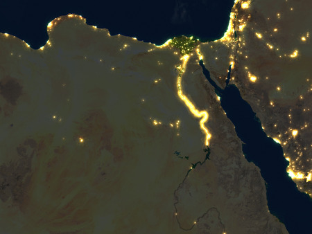 Egypt at night. 3D illustration with detailed planet surface and visible city lights. Stock Photo