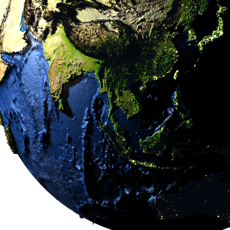 Southeast Asia on model of Earth with exaggerated surface features including ocean floor. 3D illustration.