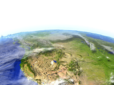 colorado rocky mountains: California on model of Earth. 3D illustration with realistic planet surface. Stock Photo