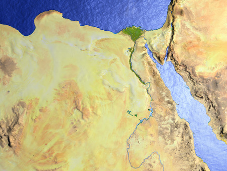 Egypt on model of Earth. 3D illustration with realistic planet surface.