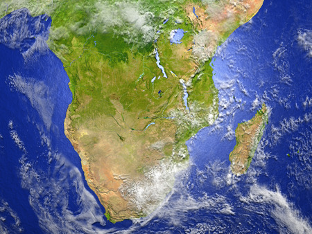 South of Africa on model of Earth. 3D illustration with realistic planet surface.