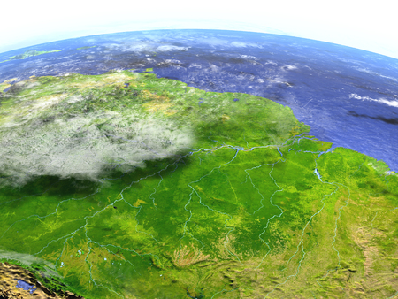 deforestacion: Amazon rainforest on model of Earth. 3D illustration with realistic planet surface. Foto de archivo