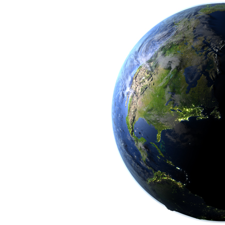 visible: North America. 3D illustration with detailed planet surface and visible city lights. Blank space for your copy on the left side. Stock Photo