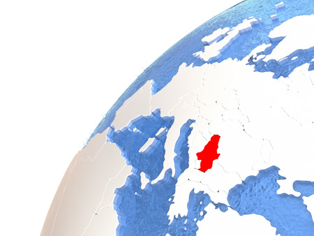 Serbia in red color on globe with watery oceans and shiny metallic landmasses. 3D illustration Stock Photo