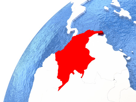 Colombia in red color on globe with watery oceans and shiny metallic landmasses. 3D illustration