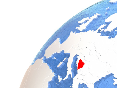 Bosnia in red color on globe with watery oceans and shiny metallic landmasses. 3D illustration
