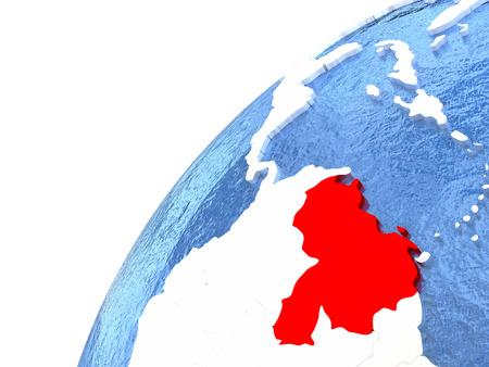 Venezuela en color rojo en globo con océanos acuosos y masas de tierra metálicas brillantes. Ilustración 3D Foto de archivo