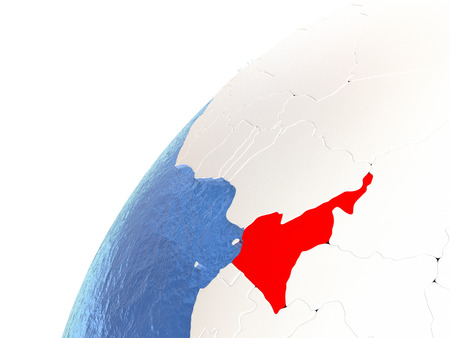 cameroonian: Cameroon in red color on globe with watery oceans and shiny metallic landmasses. 3D illustration