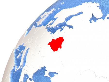 Belarus in red color on globe with watery oceans and shiny metallic landmasses. 3D illustration