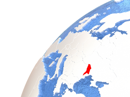 Moldova in red color on globe with watery oceans and shiny metallic landmasses. 3D illustration
