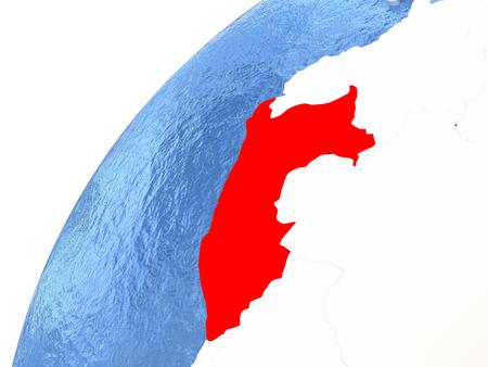 Perú en color rojo en globo con océanos acuosos y masas de tierra metálicas brillantes. Ilustración 3D