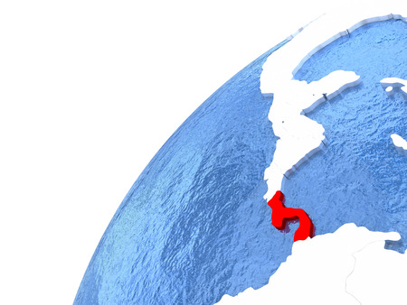 Panama in red color on globe with watery oceans and shiny metallic landmasses. 3D illustration