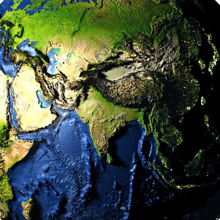 アジア海洋底を含めて誇張の表面機能を持つ地球のモデル。3 D イラスト。