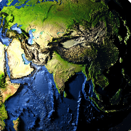 Asia on model of Earth with exaggerated surface features including ocean floor. 3D illustration.