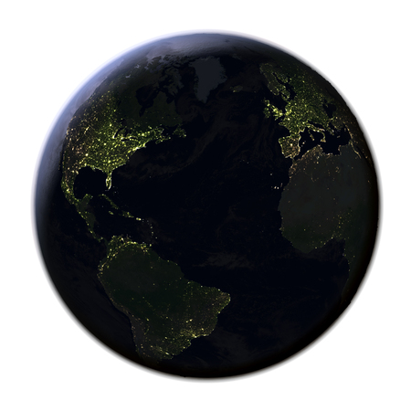 Northern Hemisphere on model of Earth at night. 3D illustration with realistic planet surface at night isolated on white background. Stock Photo
