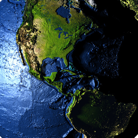 the americas: Americas on model of Earth with exaggerated surface features including ocean floor. 3D illustration. Stock Photo