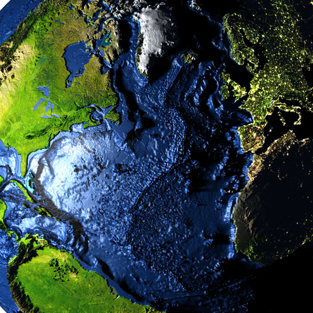 Northern Hemisphere on model of Earth with exaggerated surface features including ocean floor. 3D illustration.