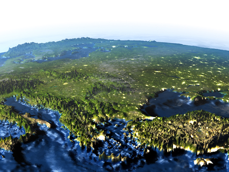 Turkey and Black sea region on 3D model of Earth at night. 3D illustration with plastic planet surface and ocean floor and visible city lights.