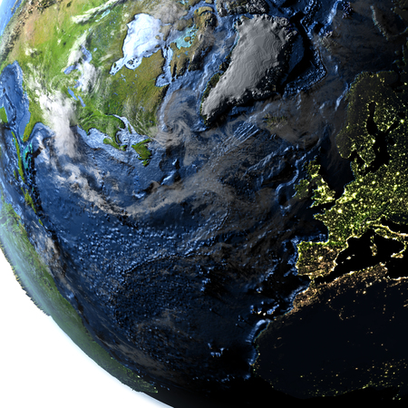 visible: Europe and North America on 3D model of Earth. 3D illustration with plastic planet surface and ocean floor and visible city lights. Stock Photo