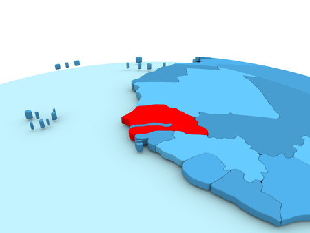 Senegal in red on simple blue political globe. 3D illustration