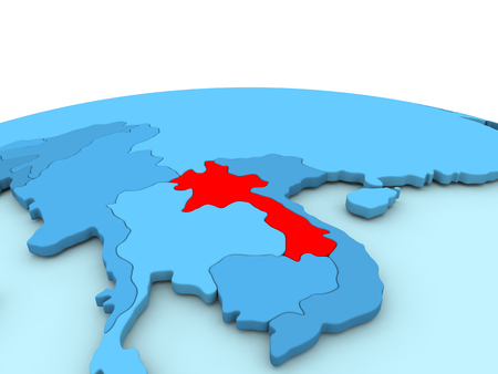 Laos in red on simple blue political globe. 3D illustration