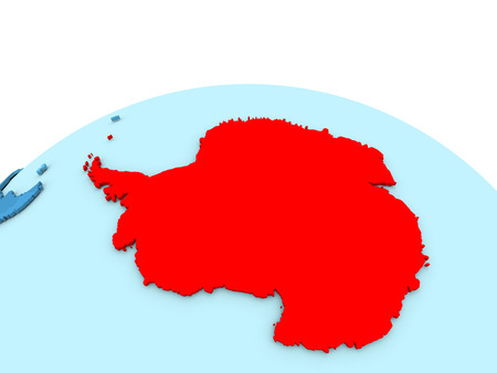 Antarctica in red on simple blue political globe. 3D illustration Stock Photo
