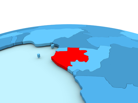 Gabon in red on simple blue political globe. 3D illustration