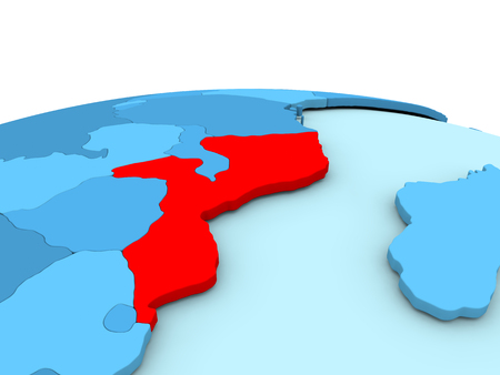 Mozambique in red on simple blue political globe. 3D illustration Stock Photo