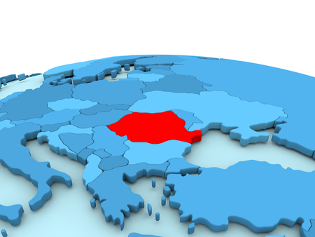 Romania in red on simple blue political globe. 3D illustration